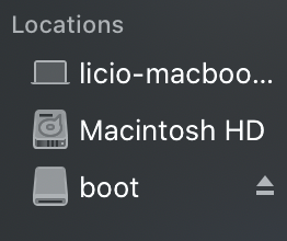 Dispositivos montados no mac
